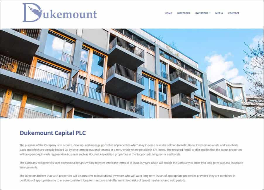 Dukemount Capital plc website desinged and developed by Corporates Online