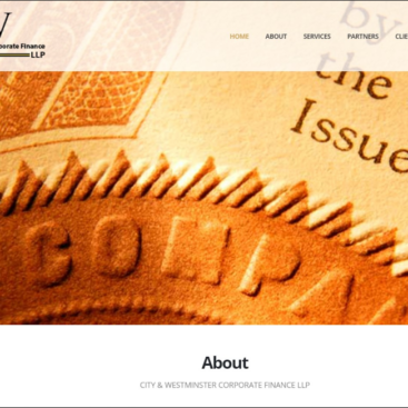 City & Westminster Corporate Finance website designed and developed by Corporates Online