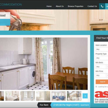 Serviced Accommodation website designed and developed by Corporates Online
